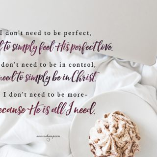 I don't need to be perfect