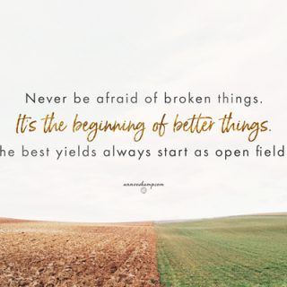 Never be afraid of broken things