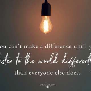 You can't make a difference