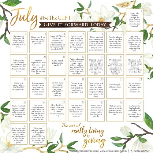 July beTheGIFT calendar