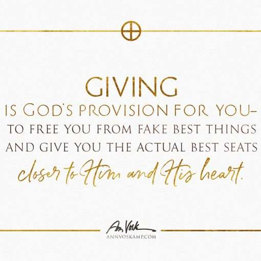 Giving is God's provision