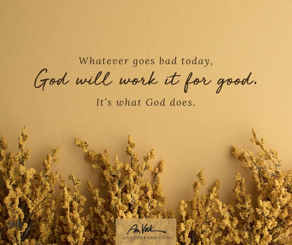 Whatever goes bad today, God will work it for good