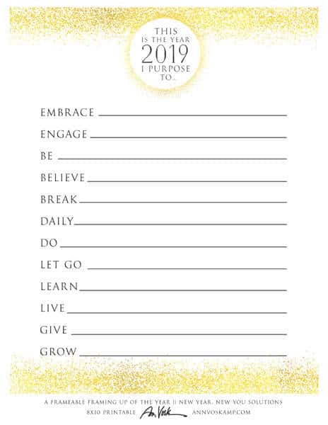 2019 – This is the Year Printable, Gold