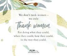 We don't rank women – we only thank women