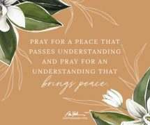 Pray for a Peace that Passes Understanding