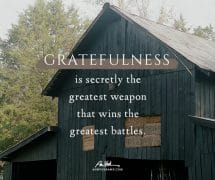Gratefulness is the greatest weapon